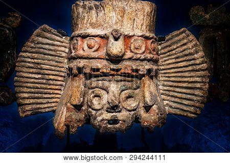 Mexico City, Mexico - January 3, 2019 Ancient Aztec God Stone Statue Templo Mayor Mexico City Mexico