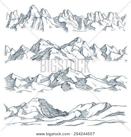 Mountains Landscape Engraving. Vintage Hand Drawn Sketch Of Hiking Or Climbing On Mountain. Nature H