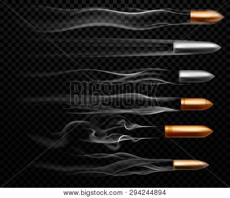 Flying Bullet Traces. Shooting Military Bullets Smoke Trace, Handgun Shoot Trails And Realistic Shoo
