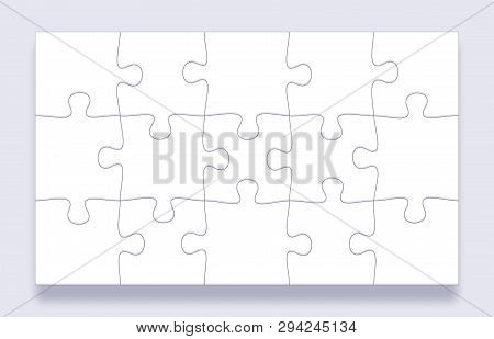 Puzzle Pieces Grid. Jigsaw Tiles, Mind Puzzles Piece And Jigsaws Details With Shadow Business Presen