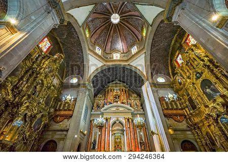 Mexico City, Mexico - January 3, 2019 Dome Basilica Altar Santo Domingo Church Mexico City Mexico. C
