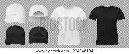 Set Of Sports Wear Template. Black And White Baseball Cap And T-shirt Mockup, Front And Back View. V