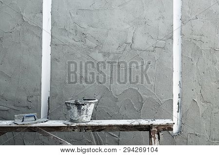 Plastering Tools Builders Tools On A House Wall Interior