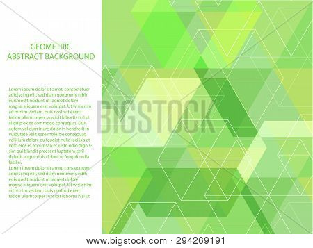 Beautiful And Classic Abstract Background Pastel Neon Green And White Polygon Shape. Minimal Modern