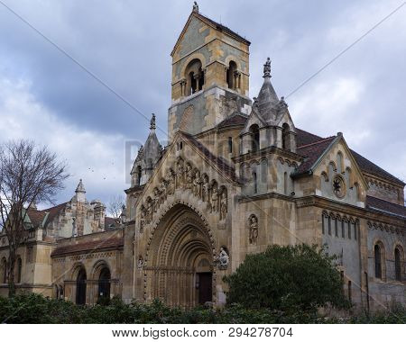 The Chapel Of Jak - Gothic Church In Vajdahunyad Castle. Vajdahunyad Castle Was Built In 1896 As Par