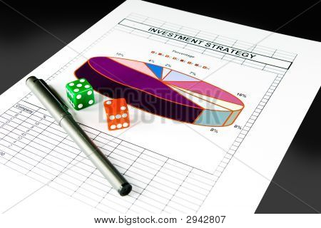 Investment Strategy Chart And Set Of Dice