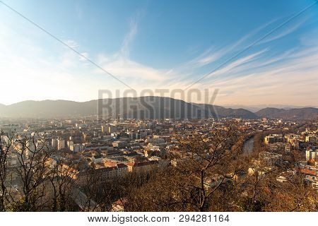 View At Graz City In Spring From Viewing Point At The Top Of Schlossberg Castle Mountain In Graz, St
