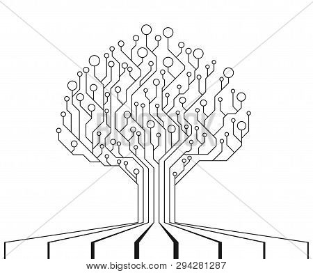Circuit Board Tree. Technology Cpu, Microprocessor Interface. The Combination Of Life And Technology