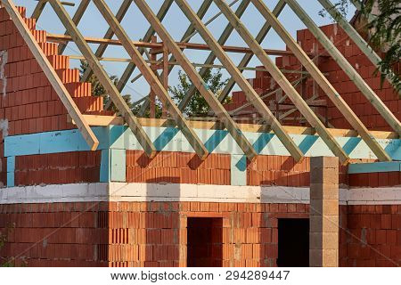 Detached house under construction with roof poster