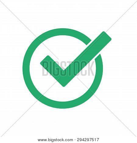 Green Check Mark  Vector Icon. Green Check Mark Icon In A Circle. Tick Symbol In Green Color, Vector