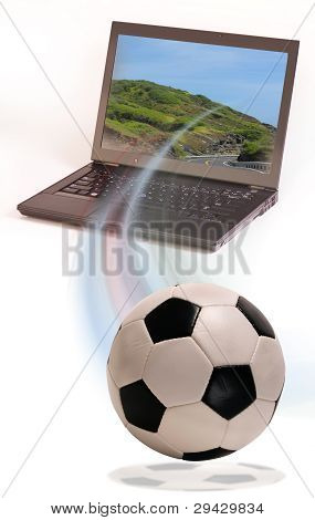 Soccer Ball and Computer.