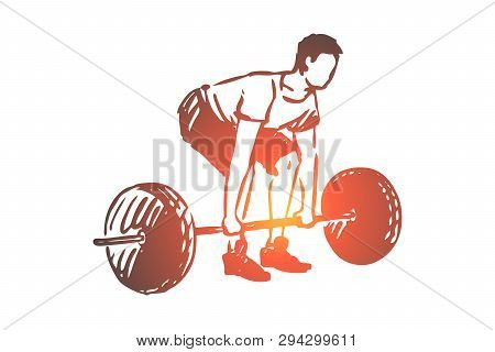 Gym, Barbell, Fitness, Man, Workout Concept. Hand Drawn Sportive Man Workout In Gym Concept Sketch.