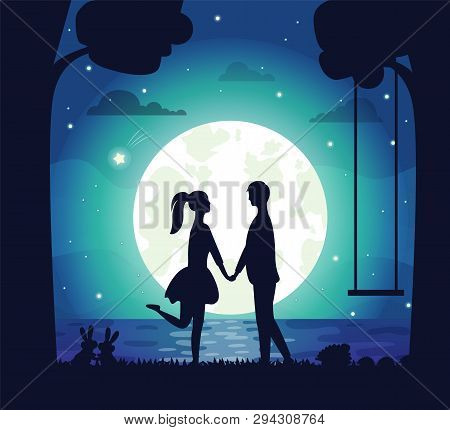 Couple Having Date At Night Vector, Man And Woman Holding Hands Standing On Bank Of Lake. Big Moon A