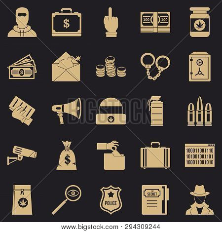 Criminal Offence Icons Set. Simple Set Of 25 Criminal Offence Vector Icons For Web For Any Design