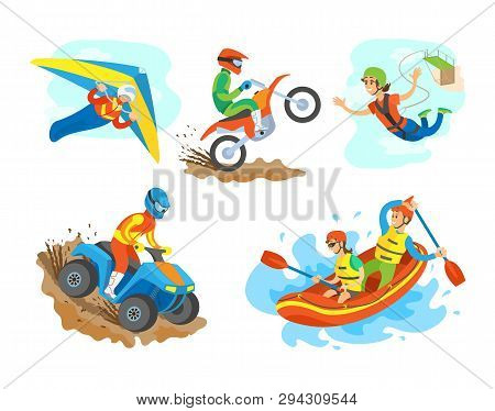 Extreme Sports Set Vector, Man Riding A Quad Bike Male On Motorcycle. Woman Bungee Jumping, Hang Gli
