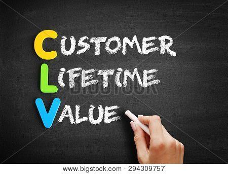 Color Wooden Alphabets Building The Word Clv - Customer Lifetime Value Acronym On Blackboard
