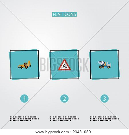 Set of construction icons flat style symbols with concrete mixer, tractor backhoe loader, workman sign and other icons for your web mobile app logo design. poster