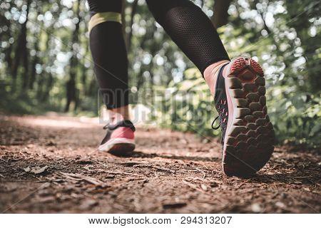 Athletic Woman Legs In Sneakers Outdoors