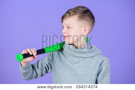 Sport And Baseball Training Concept. Boy Hold Baseball Bat. Sport And Hobby. Teenager Boy Likes Base