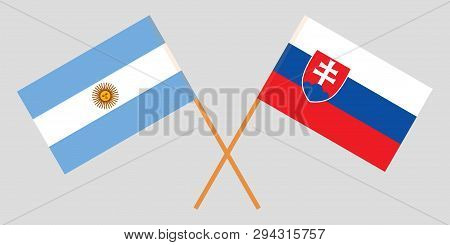 Argentina And Slovakia. The Argentinean And Slovakian Flags. Official Colors. Correct Proportion. Ve