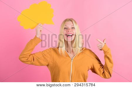 Girl Cute Blonde With Speech Bubble. What Is On Her Mind. Create Idea. Thoughts Of Cheerful Adorable