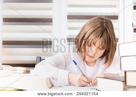 Teen Girl Is Doing Her Homework, Making Project