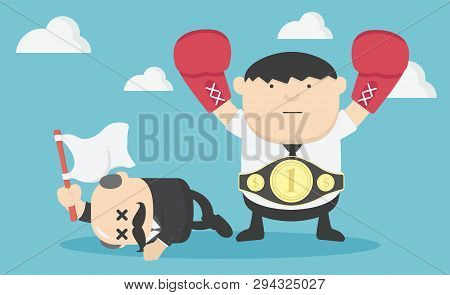 Illustration Concept Happy Businessman With Boxing , Fighting Bigger Businessman