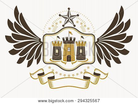 Heraldic Coat Of Arms Made In Retro Design, Decorative Emblem With Wings, Pentagonal Stars And Medie
