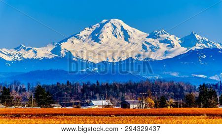 Mount Baker, A Dormant Volcano In Washington State Viewed From Glen Valley Near Abbotsford British C