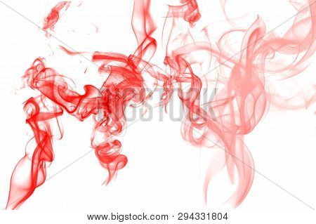 Abstract Red Smoke Graphic On White Background