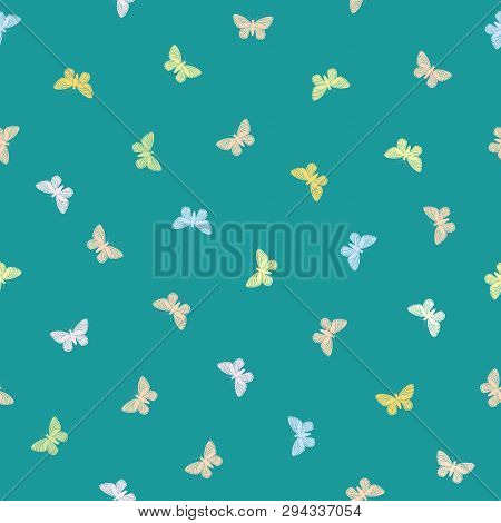 Multicolor Pastel Butterflies In Multidirectional Design. Seamless Hand Drawn Vector Pattern On Vibr