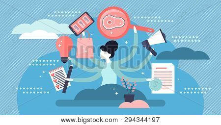 Multitasking Vector Illustration. Flat Tiny Busy Work List Persons Concept. Job Management Overload