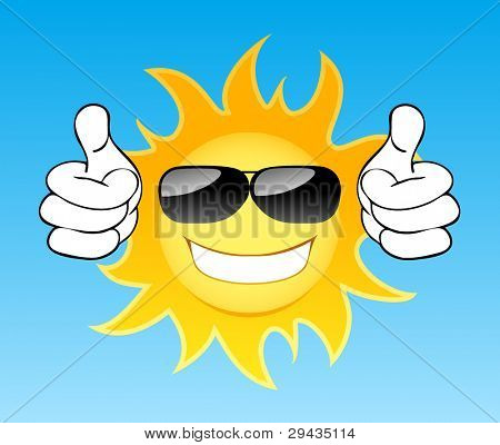 Smiling sun with glasses in the sky. Vector illustration