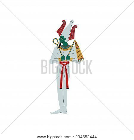 Osiris God Of Underworld, Egyptian Ancient Culture Symbol Vector Illustration