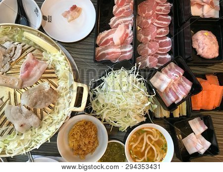 Buffet Grill Pork Barbecue With Pork And Vegetable, Hot Pan