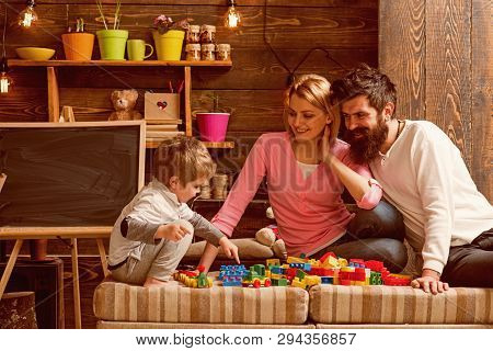 Fun Concept. Learning Is Fun. Family Have Fun With Construction Set. Real Fun.