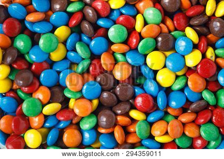 Many Multi Colored Smarties As A Background