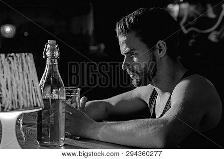 Taking Beer Really Seriously. Handsome Man Drink Beer At Bar Counter. Alcohol Addict With Beer Mug.