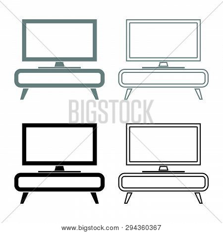 Tv Set On The Cupboard Commode Bedside Table Home Interior Concept Icon Set Black Grey Color Vector