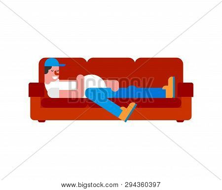 Idler On Couch. Lazy Person Guy Is Lying On Sofa