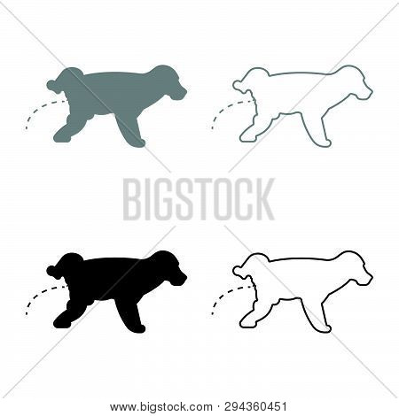Pissing Dog Puppy Pissing Pet Pissing With Raised Leg Icon Set Black Grey Color Vector Illustration