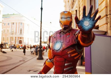 Saint Petersburg, Russia - April 3, 2019: The Figure Of Iron Man On The Street, Comics And Movies, A