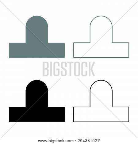 Bit Aero Hockey Icon Set Black Grey Color Vector Illustration Flat Style Simple Image 48