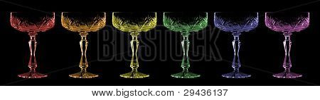 Wineglasses on black background