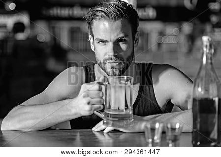 He Is A Big Fan Of Beer. Addicting To Alcoholic Drink. Alcohol Addict With Beer Mug. Man Drinker In