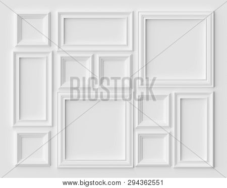 White Blank Picture Or Photo Frames On The White Wall With Shadows, White Colorless Picture Frames T