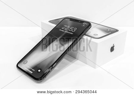Moscow, Russia 12 November, 2017: Iphone X Smart Phone. Latest Apple Iphone 10 Mobile Phone. Illustr