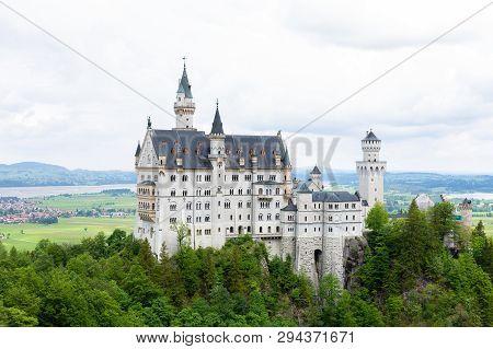 The Neuschwanstein Castle In Fussen Germany. Schloss Neuschwanstein. New Swanstone Castle .