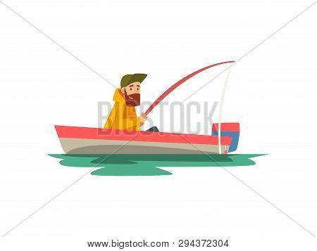 Bearded Fisherman Sitting In Boat With Fishing Rod, Fishman Character Wearing Raincoat Vector Illust