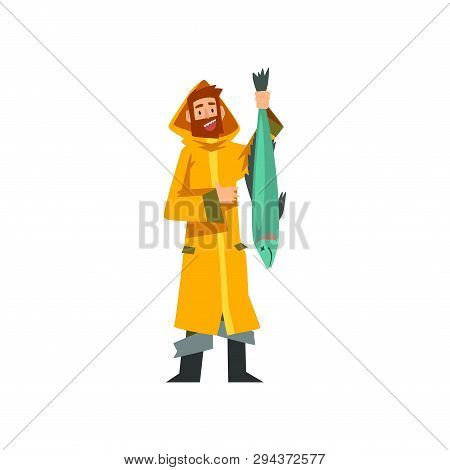 Fisherman Caught Big Fish, Fishman Character In Raincoat And Rubber Boots Vector Illustration